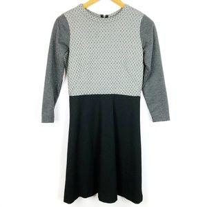 LOFT Gray Colorblock 3/4 Sleeve Fit + Flare Dress